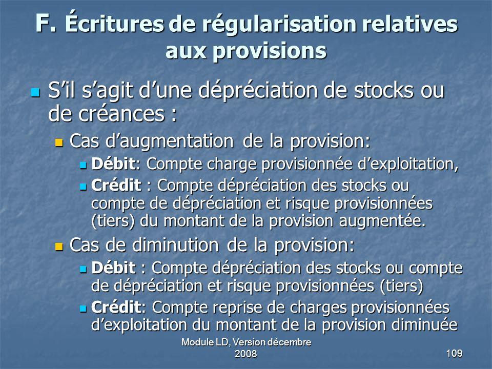 F. Écritures de régularisation relatives aux provisions