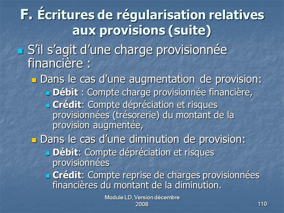 F. Écritures de régularisation relatives aux provisions (suite)