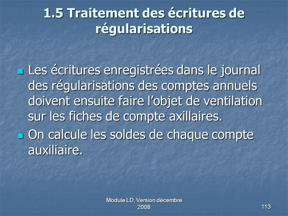 1.5 Traitement des écritures de régularisations