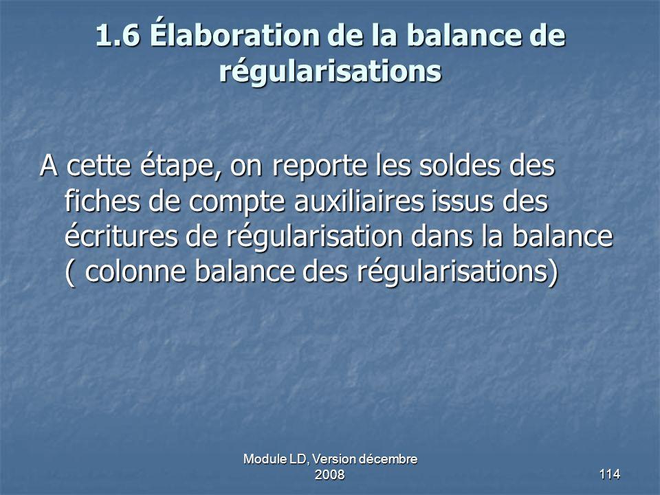 1.6 Élaboration de la balance de régularisations