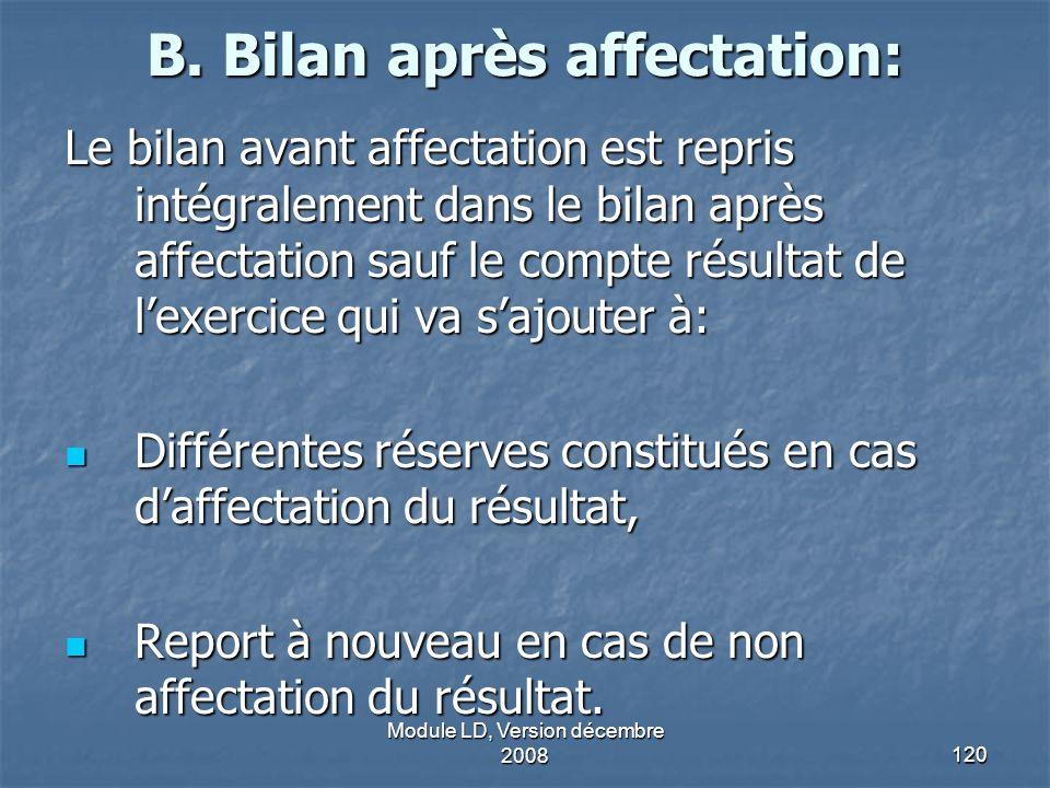 B. Bilan après affectation: