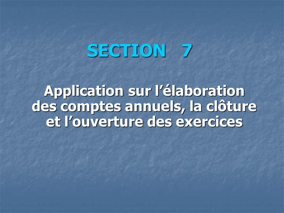 SECTION 7 Application sur l'élaboration des comptes annuels, la clôture et l'ouverture des exercices.