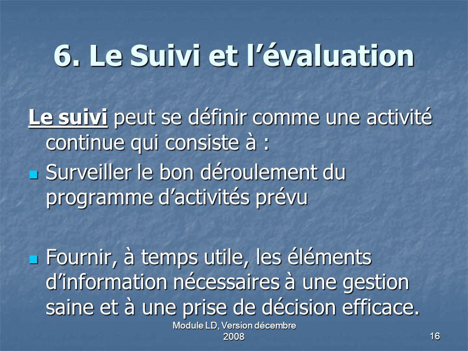 6. Le Suivi et l'évaluation