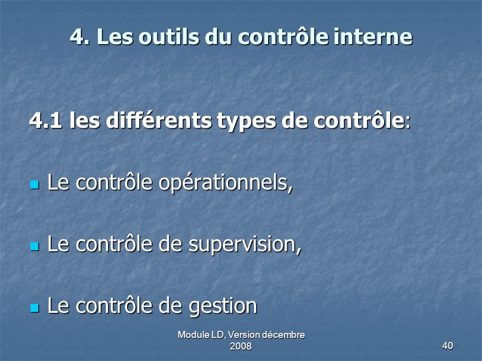 4. Les outils du contrôle interne