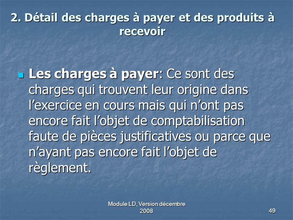 2. Détail des charges à payer et des produits à recevoir