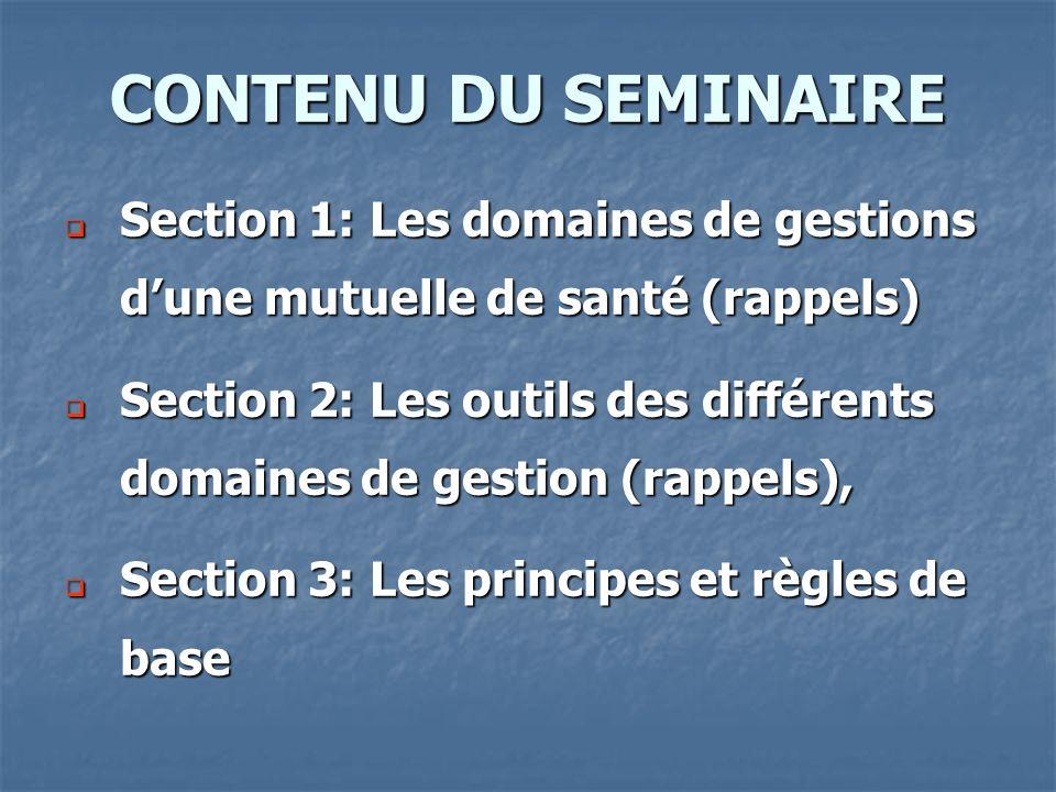 CONTENU DU SEMINAIRE Section 1: Les domaines de gestions d'une mutuelle de santé (rappels)