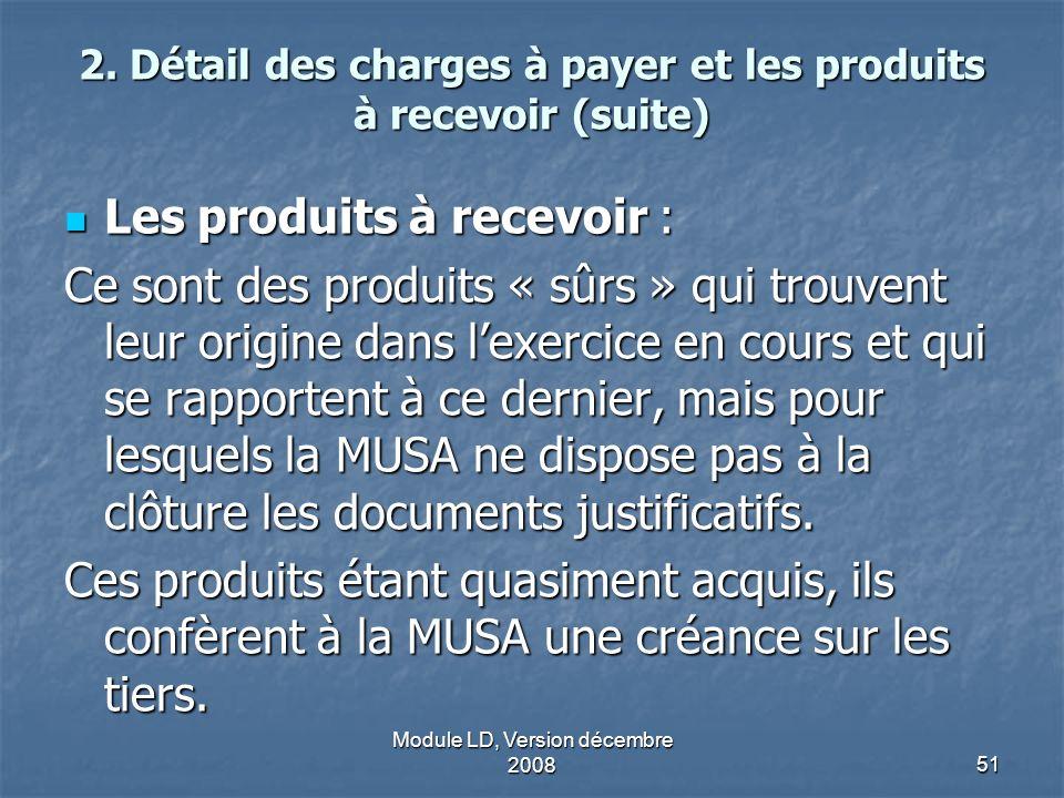 2. Détail des charges à payer et les produits à recevoir (suite)