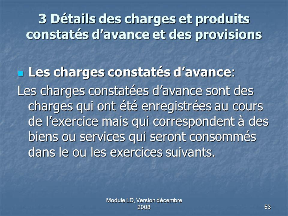 3 Détails des charges et produits constatés d'avance et des provisions