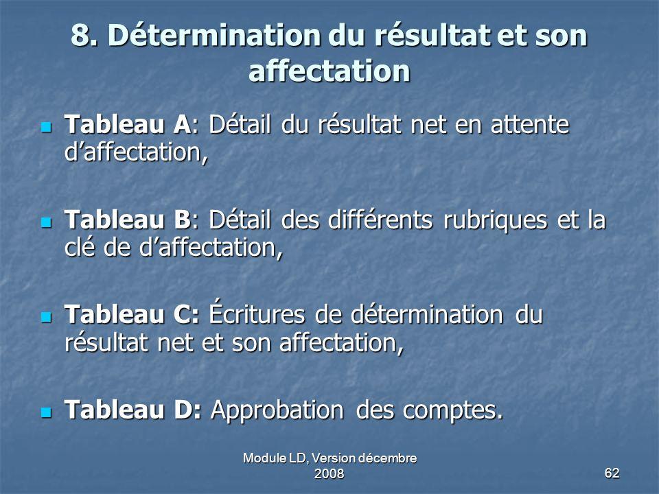 8. Détermination du résultat et son affectation