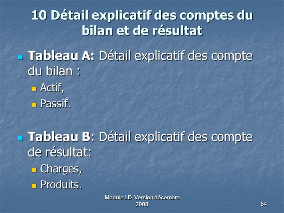 10 Détail explicatif des comptes du bilan et de résultat