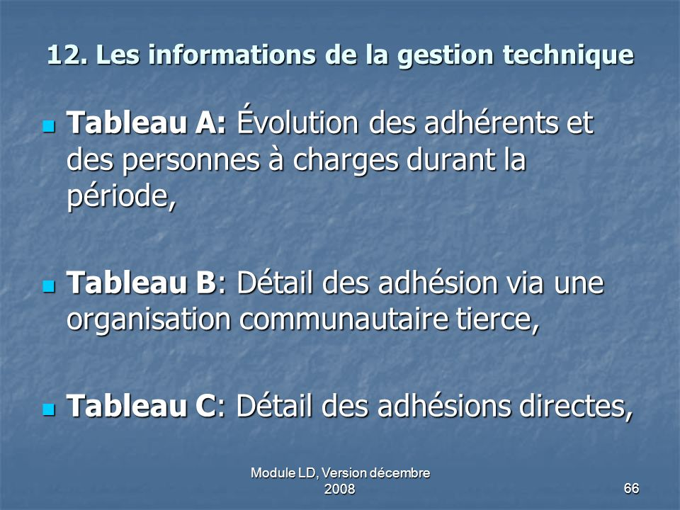 12. Les informations de la gestion technique