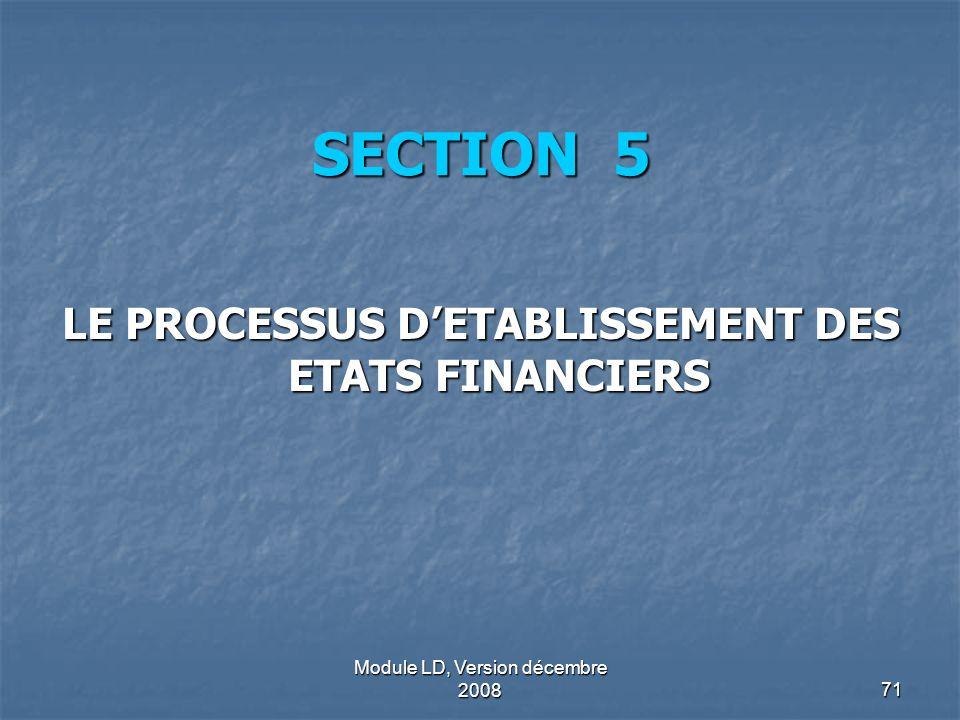 LE PROCESSUS D'ETABLISSEMENT DES ETATS FINANCIERS