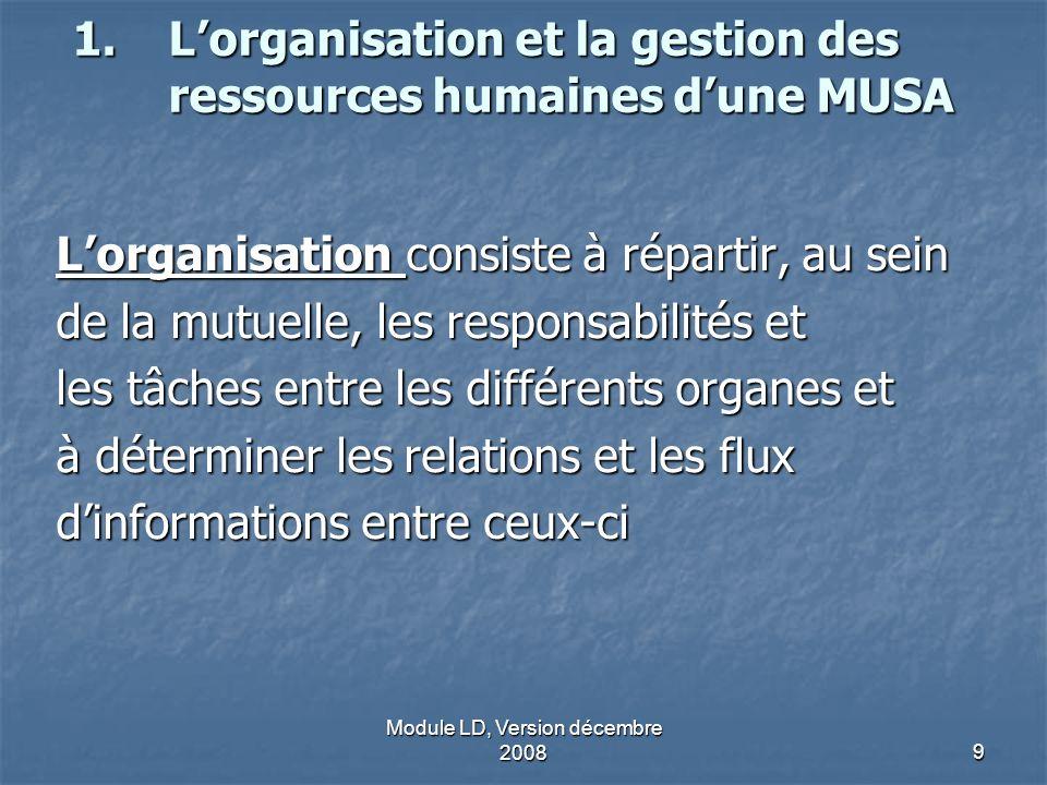 L'organisation et la gestion des ressources humaines d'une MUSA