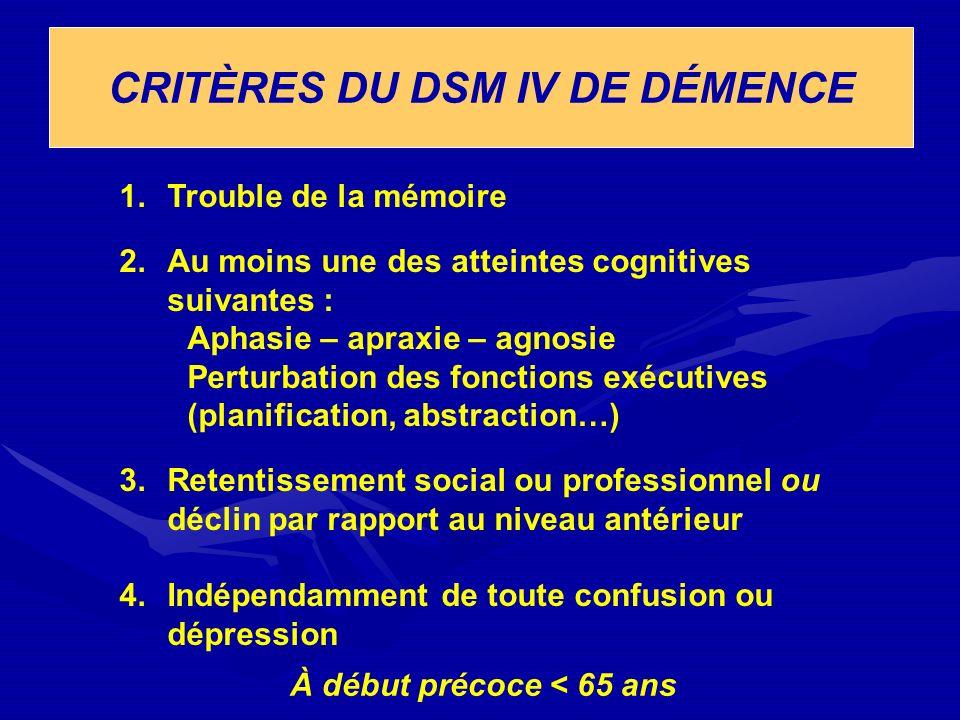 CRITÈRES DU DSM IV DE DÉMENCE