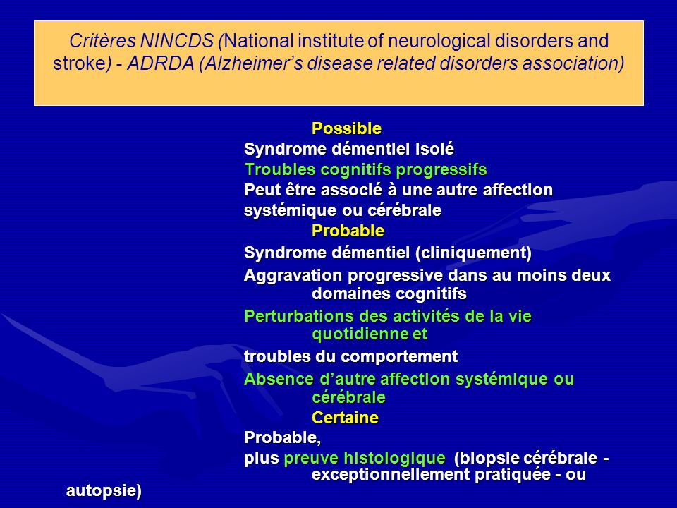 Critères NINCDS (National institute of neurological disorders and stroke) - ADRDA (Alzheimer's disease related disorders association)