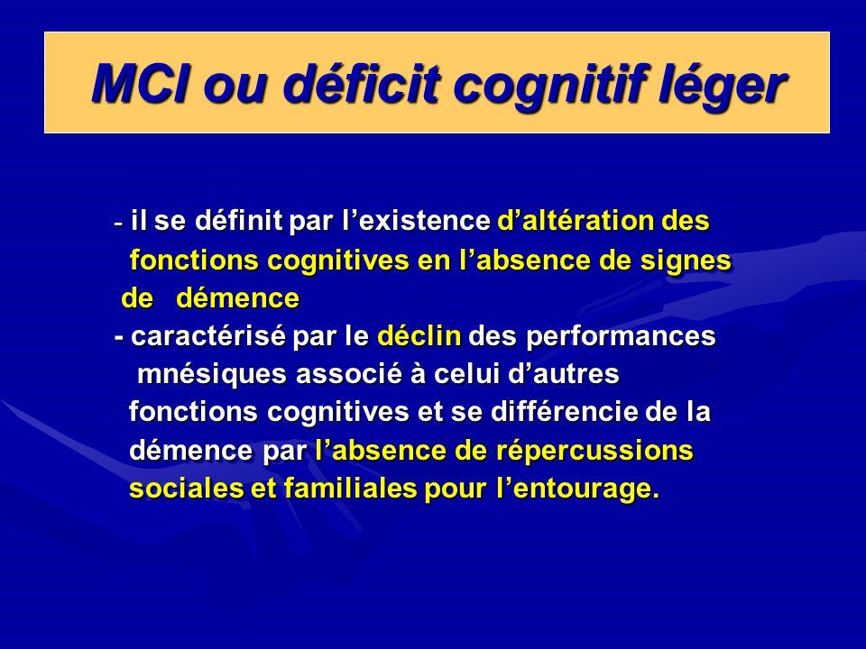 MCI ou déficit cognitif léger
