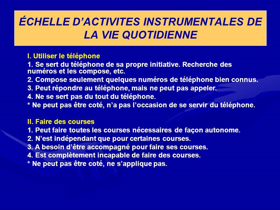 ÉCHELLE D'ACTIVITES INSTRUMENTALES DE LA VIE QUOTIDIENNE