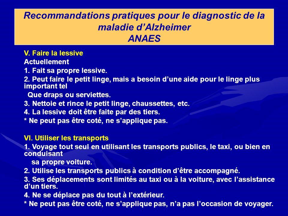 Recommandations pratiques pour le diagnostic de la maladie d'Alzheimer ANAES