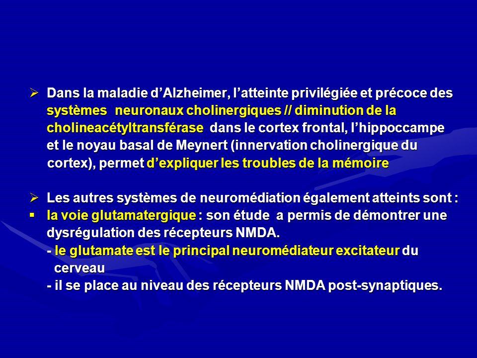 Dans la maladie d'Alzheimer, l'atteinte privilégiée et précoce des