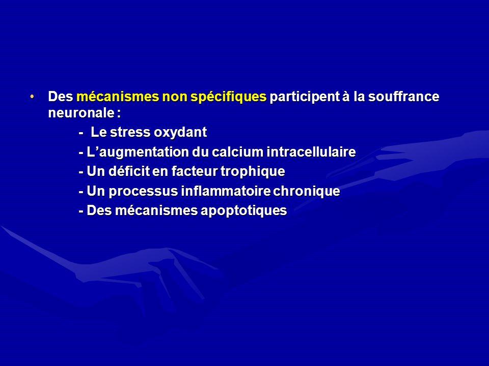 Des mécanismes non spécifiques participent à la souffrance neuronale :