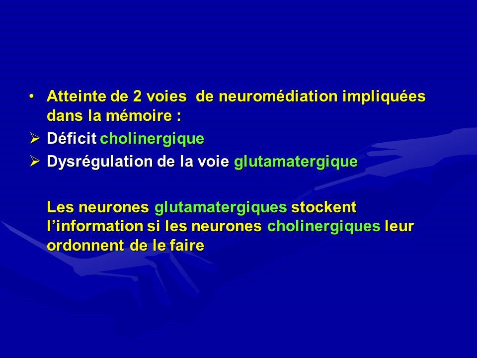 Atteinte de 2 voies de neuromédiation impliquées dans la mémoire :