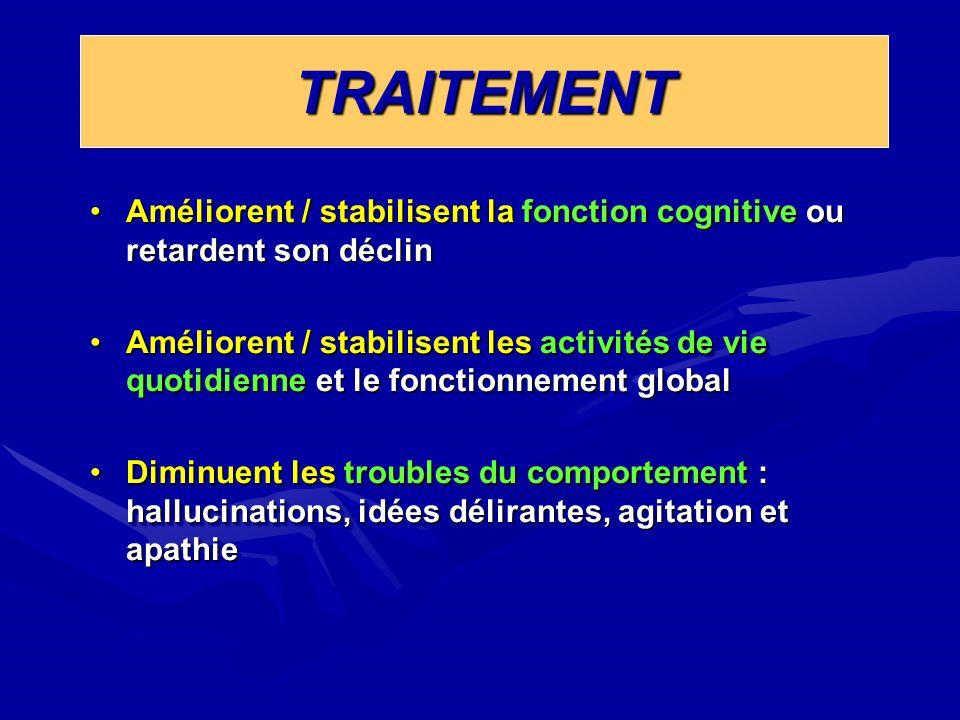 TRAITEMENT Améliorent / stabilisent la fonction cognitive ou retardent son déclin.