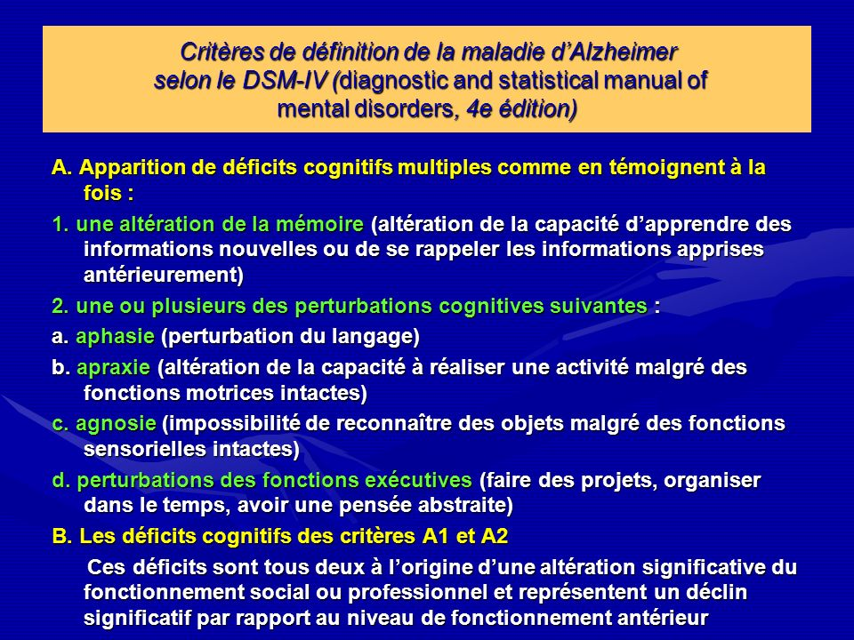 Critères de définition de la maladie d'Alzheimer selon le DSM-IV (diagnostic and statistical manual of mental disorders, 4e édition)