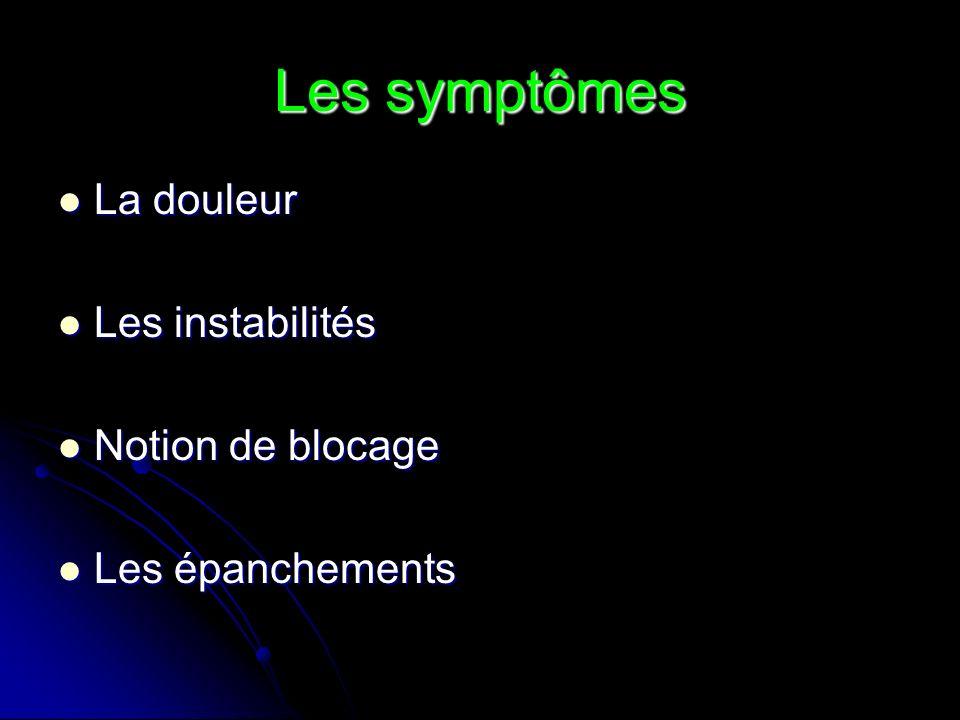 Les symptômes La douleur Les instabilités Notion de blocage