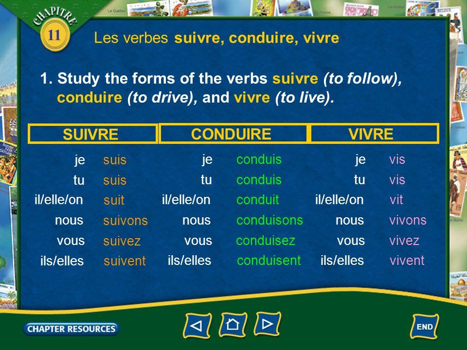 Les verbes suivre, conduire, vivre