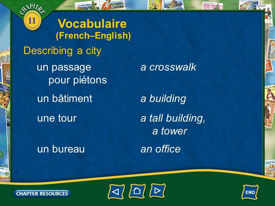 Vocabulaire Describing a city un passage pour piétons a crosswalk