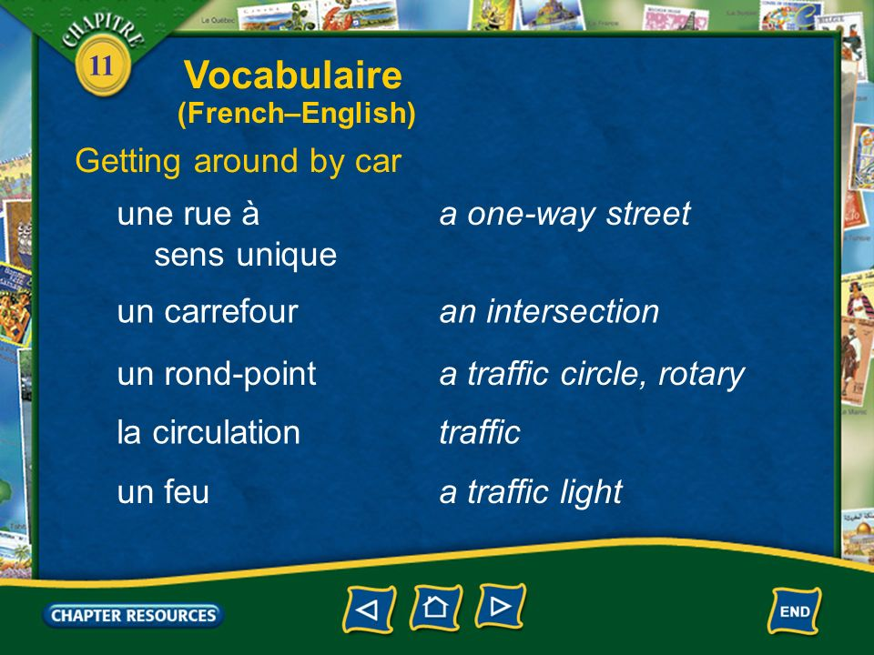 Vocabulaire Getting around by car une rue à sens unique