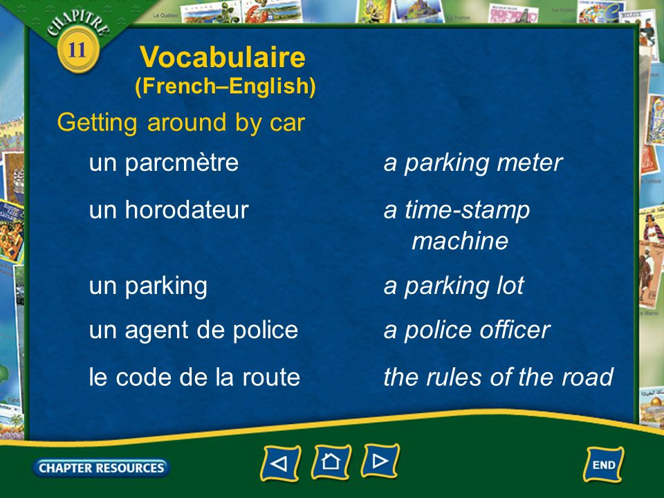 Vocabulaire Getting around by car un parcmètre a parking meter