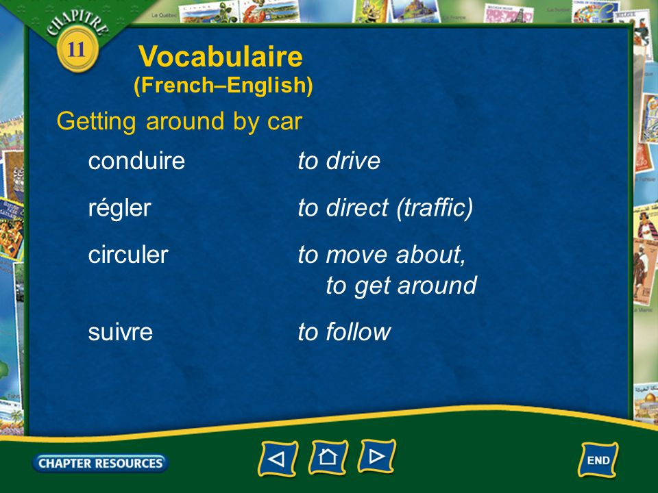 Vocabulaire Getting around by car conduire to drive régler