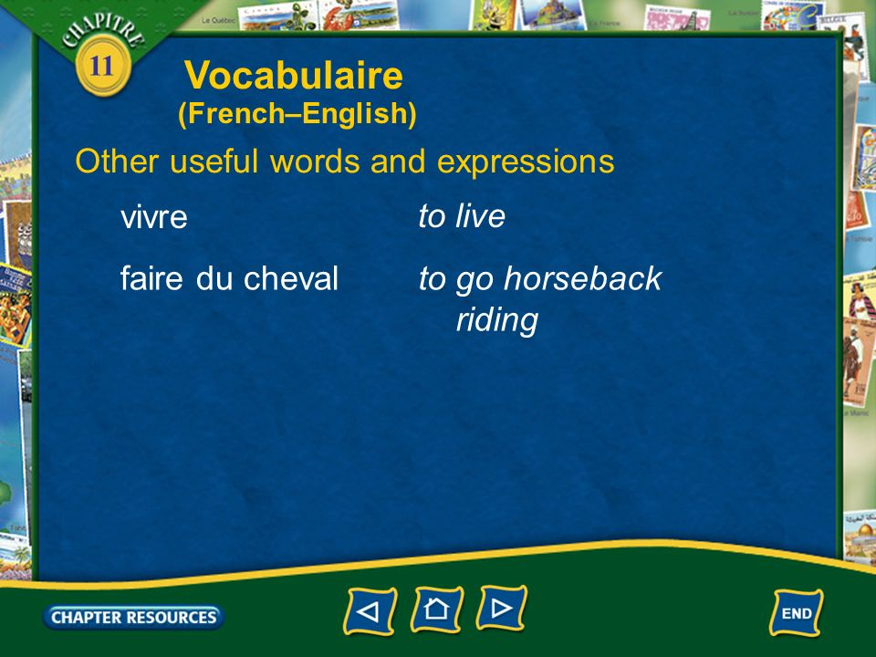 Vocabulaire Other useful words and expressions vivre to live