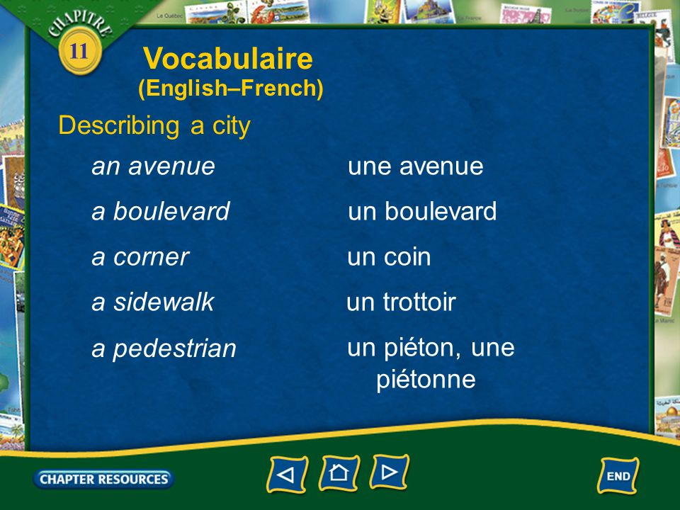 Vocabulaire Describing a city an avenue une avenue a boulevard