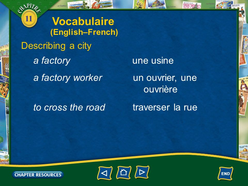 Vocabulaire Describing a city a factory une usine a factory worker