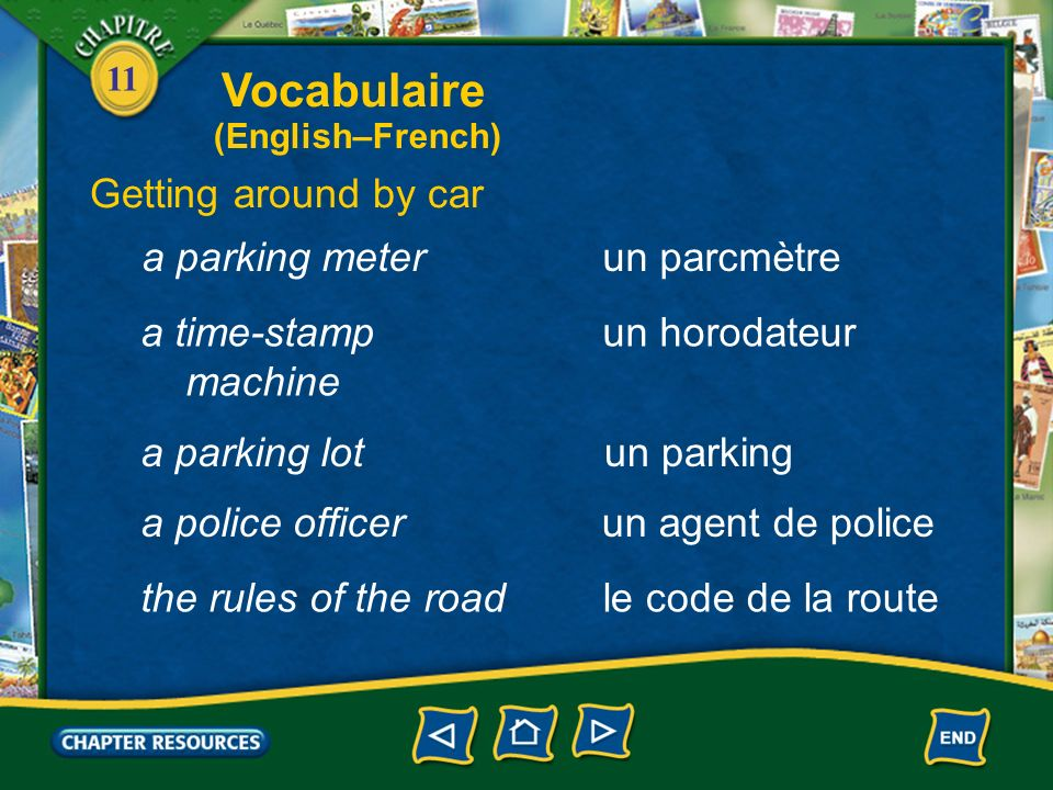 Vocabulaire Getting around by car a parking meter un parcmètre