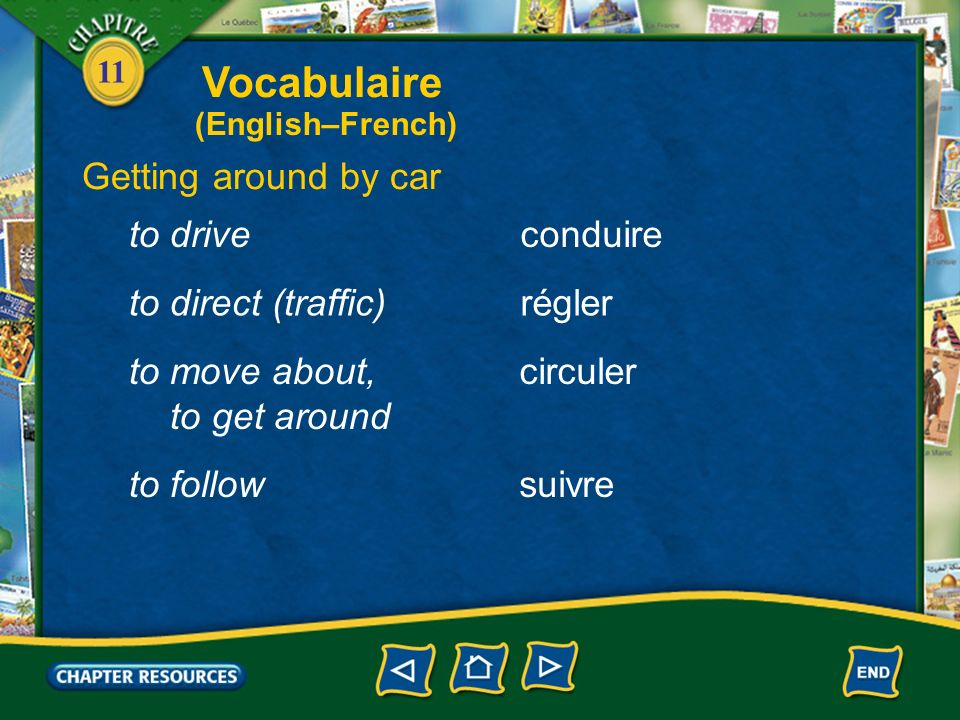 Vocabulaire Getting around by car to drive conduire