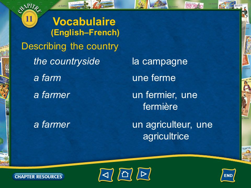 Vocabulaire Describing the country the countryside la campagne a farm