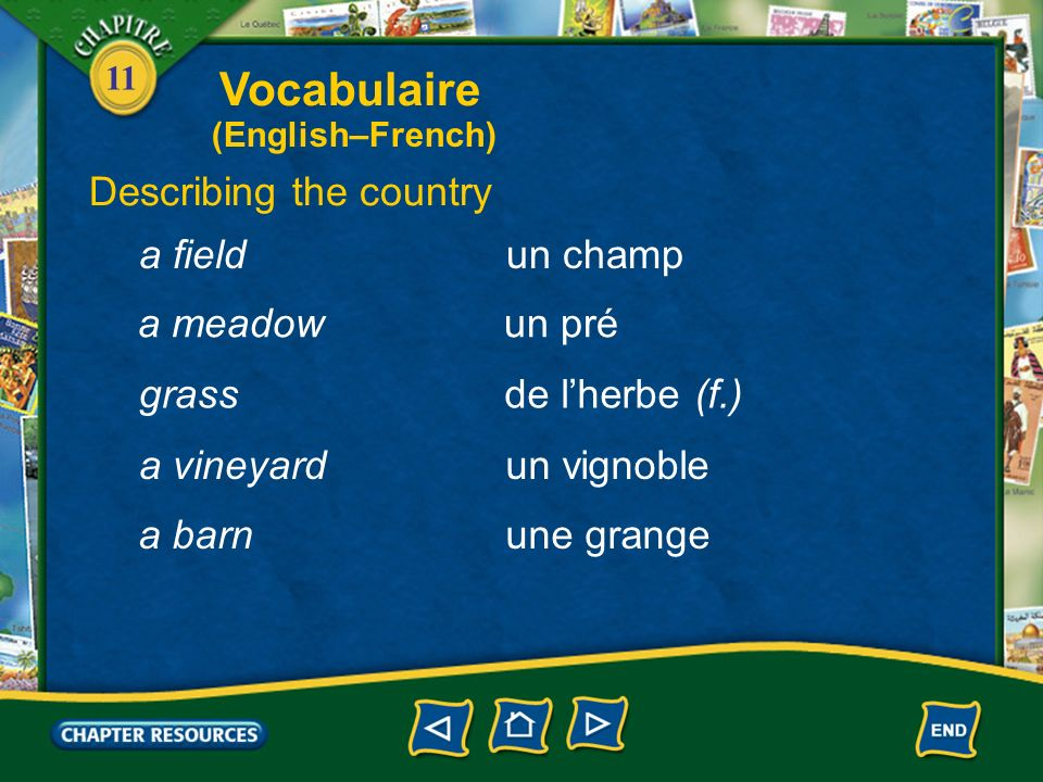 Vocabulaire Describing the country a field un champ a meadow un pré