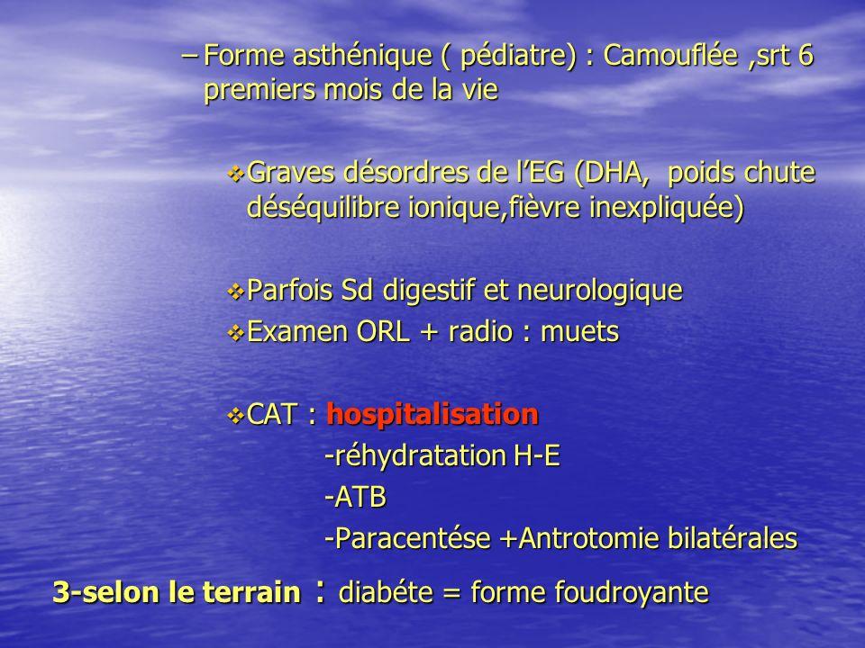Forme asthénique ( pédiatre) : Camouflée ,srt 6 premiers mois de la vie