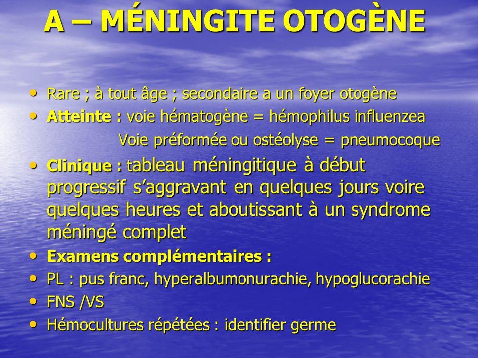 A – MÉNINGITE OTOGÈNE Rare ; à tout âge ; secondaire a un foyer otogène. Atteinte : voie hématogène = hémophilus influenzea.