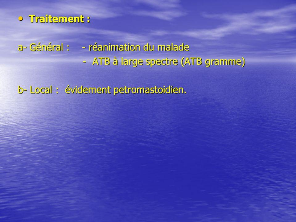 Traitement :a- Général : - réanimation du malade.