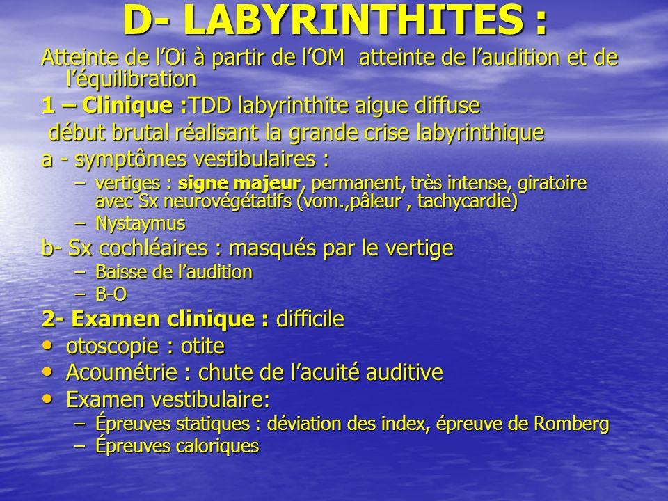 D- LABYRINTHITES :Atteinte de l'Oi à partir de l'OM atteinte de l'audition et de l'équilibration. 1 – Clinique :TDD labyrinthite aigue diffuse