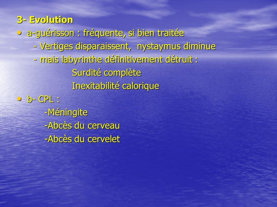 3- Evolutiona-guérisson : fréquente, si bien traitée. - Vertiges disparaissent, nystaymus diminue.
