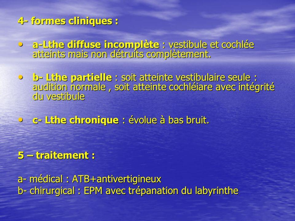 4- formes cliniques : a-Lthe diffuse incomplète : vestibule et cochlée atteints mais non détruits complètement.
