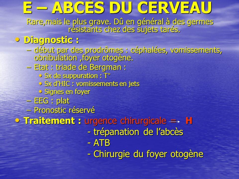 E – ABCÈS DU CERVEAU Diagnostic :