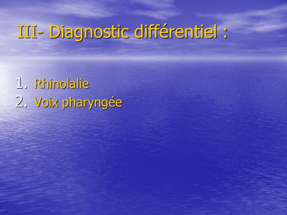 III- Diagnostic différentiel :