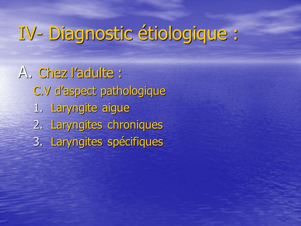 IV- Diagnostic étiologique :