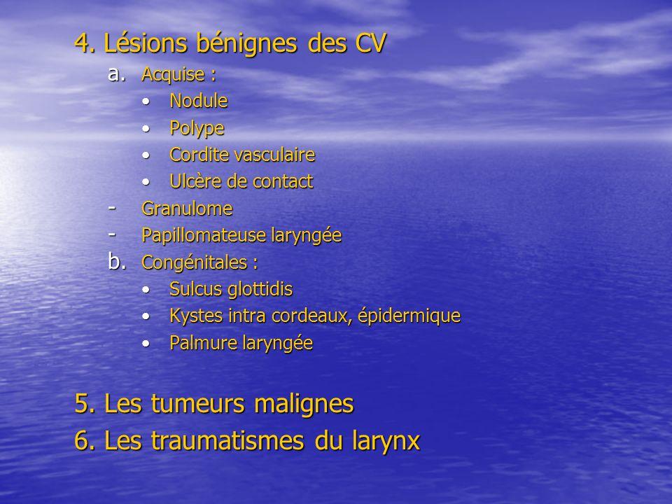 4. Lésions bénignes des CV